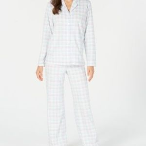 Charter Club Printed Fleece Notched Collar PJ Set